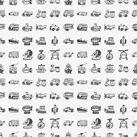 seamless doodle transport pattern Vector