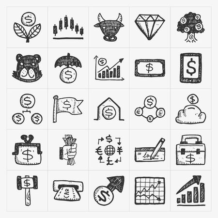 euro sign: doodle financial icons