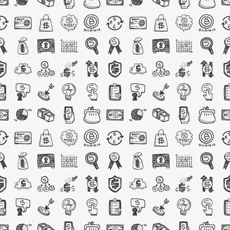seamless doodle financial pattern Vector