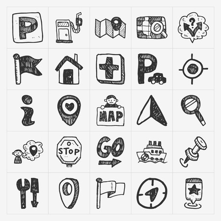 doodle map GPS Location icons set Vector