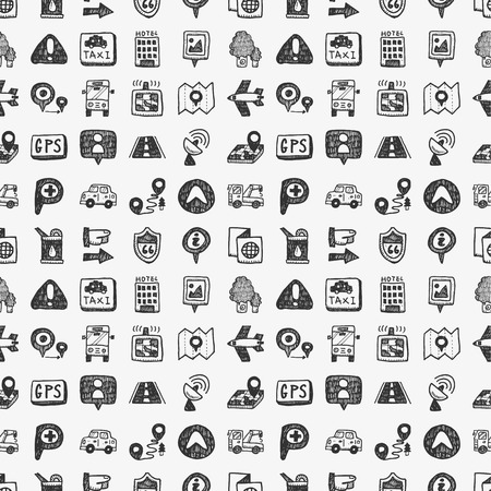 seamless doodle map GPS Location icons pattern Vector