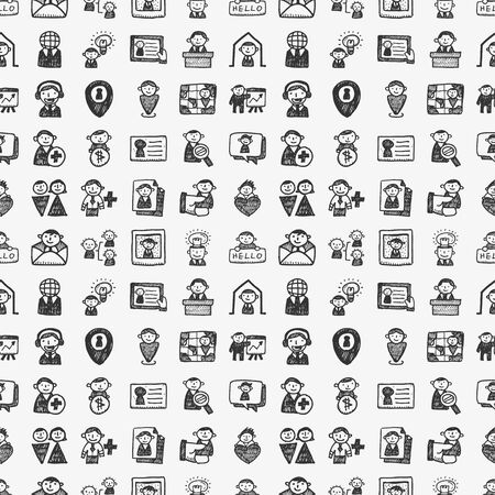 seamless doodle people pattern Vector