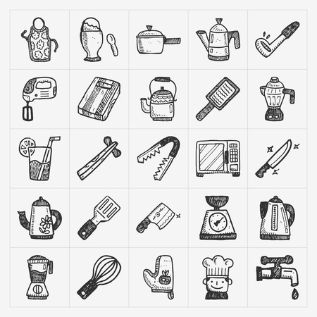doodle kitchen icons Vector