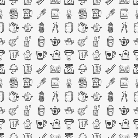 seamless doodle kitchen pattern Vector