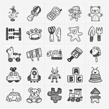baby toy: doodle toy icons Illustration