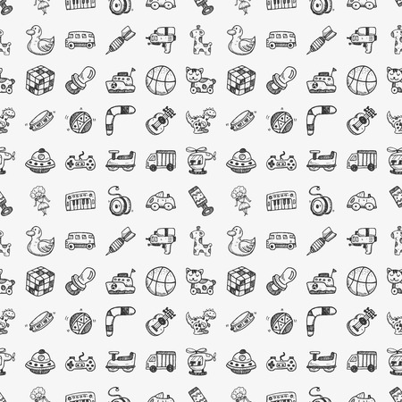 seamless doodle toy pattern Vectores