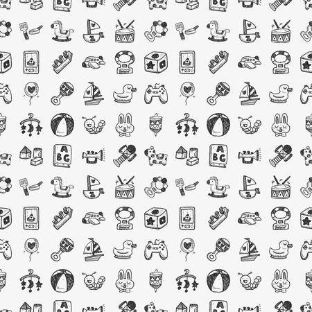 seamless doodle toy pattern Vector