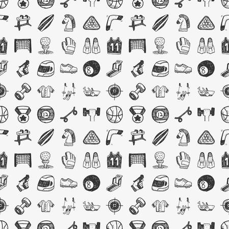 seamless doodle sport pattern Vector
