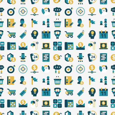 seamless retro flat business pattern background Vector