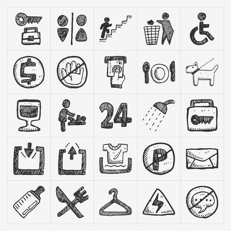 doodle public sign icon Vector