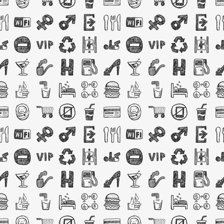 seamless doodle public sign pattern Vector