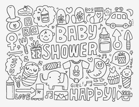 baby rattle: doodle baby background
