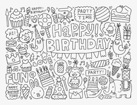 kids birthday party: Doodle Birthday party background