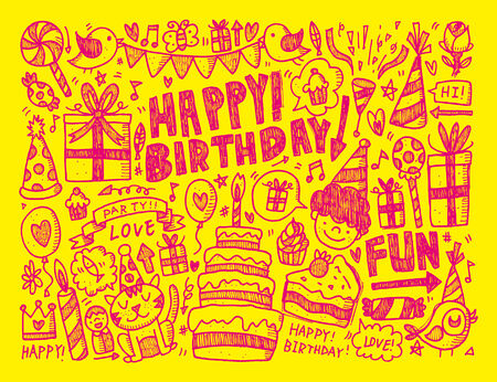 birthday hat: Doodle Birthday party background
