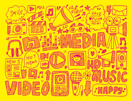doodle media background Vector