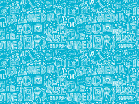 seamless doodle media pattern Vector