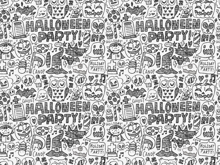 seamless doodle halloween holiday background Vector