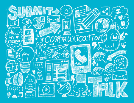 doodle communication background Vector