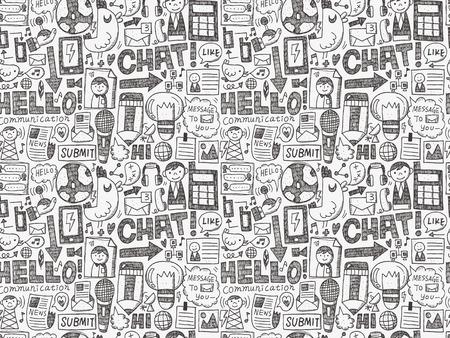 seamless doodle communication pattern Illustration