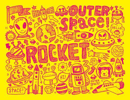 doodle space element Vector