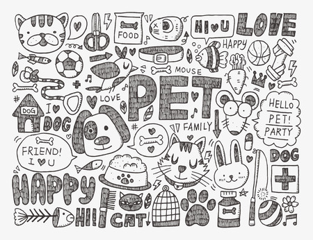 doodle pet background Vector