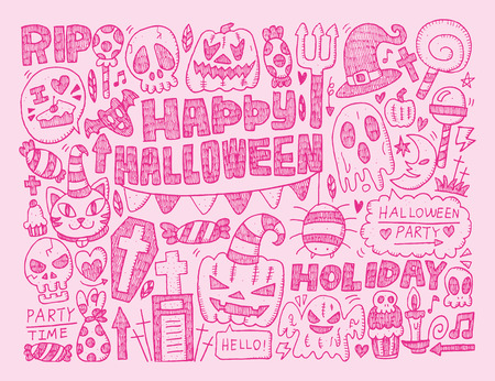 doodle halloween holiday background Vector