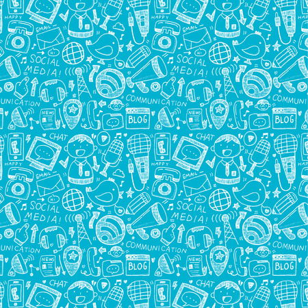 news icon: seamless doodle communication pattern Illustration