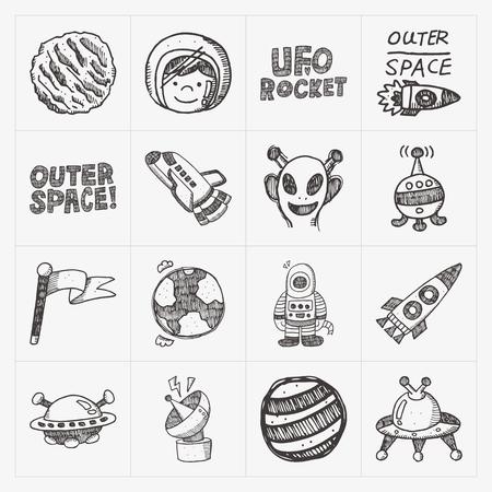 doodle space element icon set Vector
