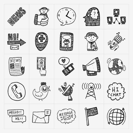 communication icons: doodle communication icons set Illustration