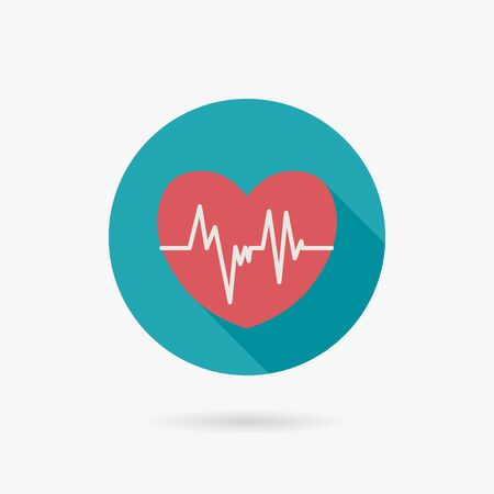 blood pressure monitor: ECG Flat style Icon with long shadows