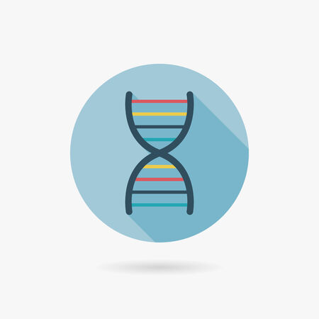 DNA Flat style Icon with long shadows Vector