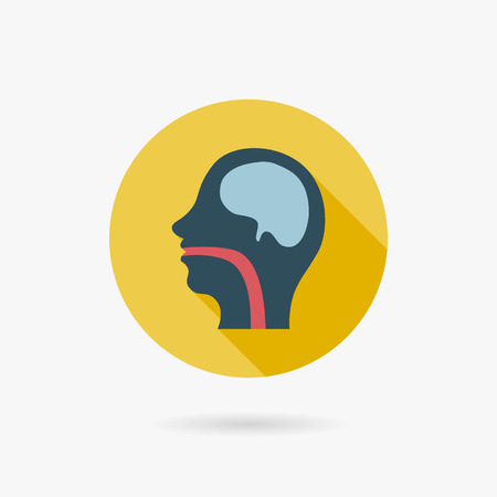 pharynx: human head Flat style Icon with long shadows Illustration