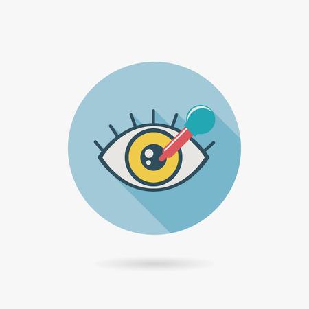 miopia: optometria icona piatta con una lunga ombra