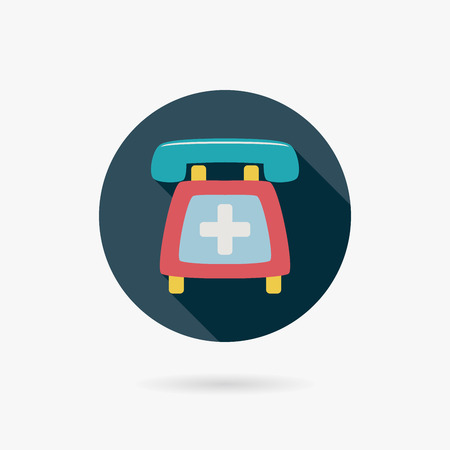 emergency call flat icon with long shadow Vector