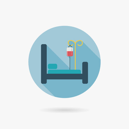 hospital bed: hospital bed Flat style Icon with long shadows Illustration