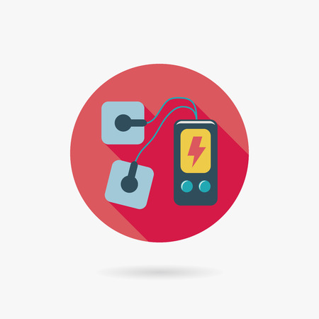 Electric massage flat icon with long shadow Vectores