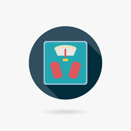 analog weight scale: weight scale flat icon with long shadow