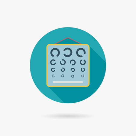 eye test chart flat icon with long shadow Vector