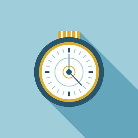 watch flat icon with long shadow Vector