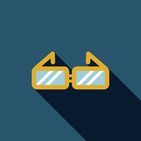 Glasses flat icon with long shadow Vector