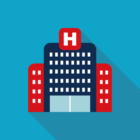 hospital building: hospital building , Flat style Icon with long shadows