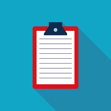 report form: Clipboard Flat style Icon with long shadows