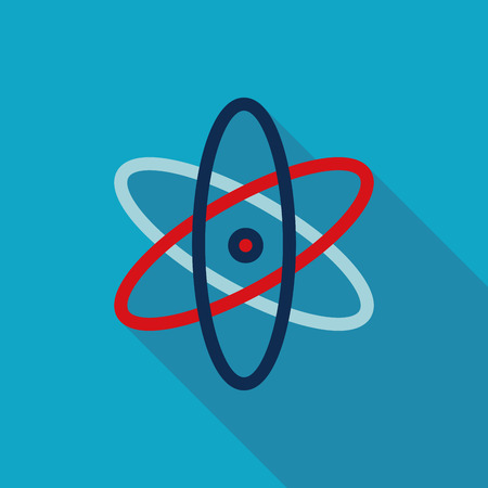 atomic nucleus: Molecule Flat style Icon with long shadows