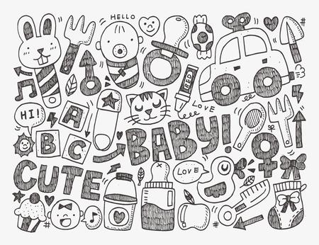 black baby boy: doodle baby background
