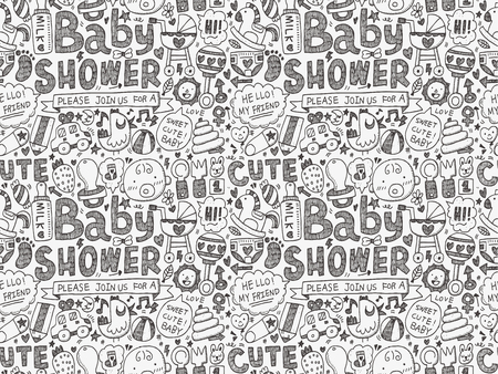 seamless doodle baby pattern Illustration