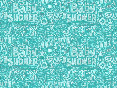 seamless doodle baby pattern Vector