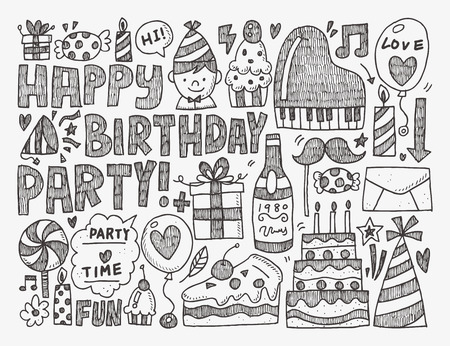 birthday party: Doodle Birthday party background