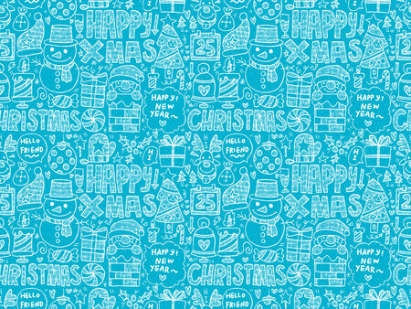 Seamless Doodle Christmas pattern