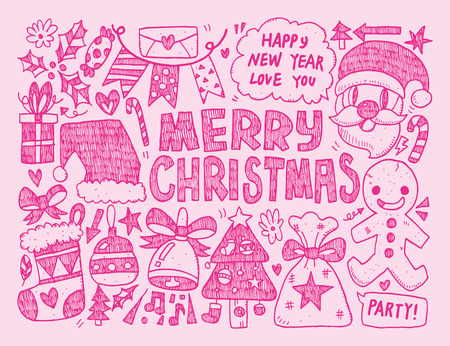 lightsdrawing: Doodle Christmas background