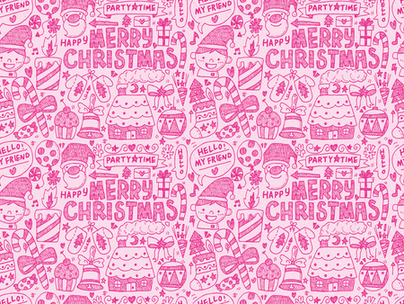 Seamless Doodle Christmas pattern Vector